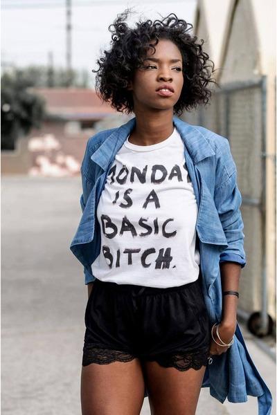 Hoes Out t-shirt - denim Monki coat - asos shorts - weekday ring