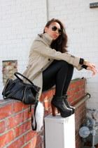 black Jeffrey Campbell shoes - beige trench coat Zara coat - black American Appa