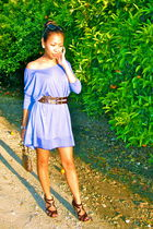blue H&M dress - brown Louis Vuitton purse - brown doll house shoes - brown Fore