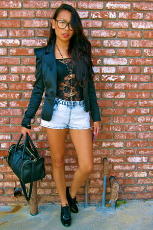 black Forever 21 blazer - blue H&M shorts - black H&M top - black payless shoes