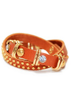 Brown Studded Wrap Leather Bracelet