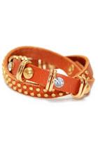 Brown Studded Wrap Leather Bracelet