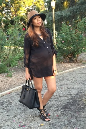 black Forever 21 shirt - brown BCBG hat - black Prada bag - black Fergie sandals