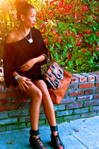 black H&M dress - silver hello kitty necklace - black H&M shoes - brown Fendi pu