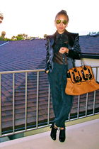 black Fendi purse - black Forever 21 blouse - black Forever 21 pants - black ran