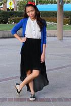 black mono B skirt - red bow headband Jill Pineda accessories