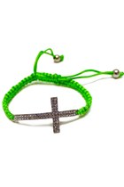 Chartreuse-silver-cross-unbranded-bracelet