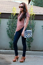 burnt orange BCBG shoes - navy Zara leggings - blue melie bianco purse - brown H