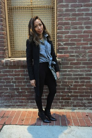 black Jimmy Choo boots - black Zara coat - black Cest Toi leggings
