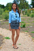 Jill Pineda skirt - denim shirt Forever 21 shirt - Zara sandals