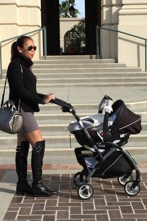 black sam edelman boots - silver Alexander Wang bag - black H&M top