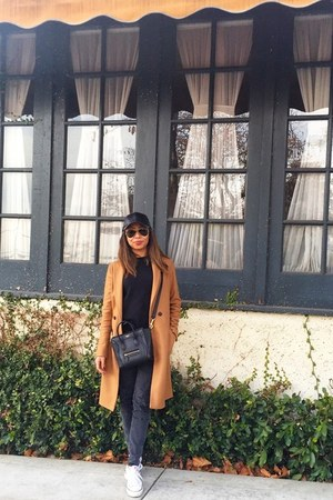 bronze Zara coat - black Celine bag - black ray-ban sunglasses