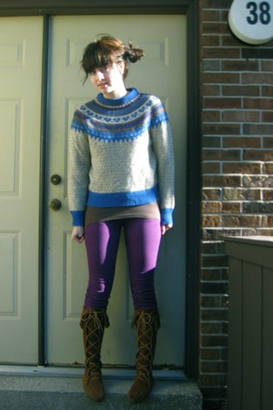 thrifted vintage sweater - delias jeans - Minnetonka boots - Old Navy shirt