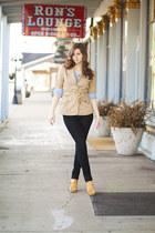 golden yellow wedges - black jeans - khaki vintage blazer