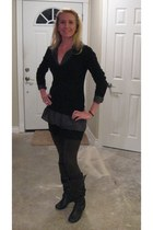 black v neck blouse - brown wedges boots - brown vera wang leggings - shirt