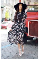 black nastygal dress - light pink Jeffrey Campbell heels
