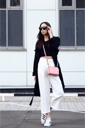 bubble gum Michael Kors bag - black Topshop coat - white Zara pants