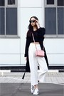 Black-topshop-coat-bubble-gum-michael-kors-bag-white-zara-pants