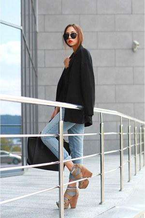 black Mango blazer - silver Topshop socks