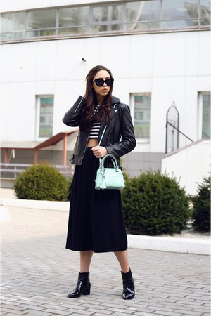 black warehouse jacket - aquamarine Zara bag