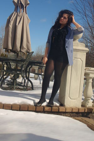 blue Love Culture blazer - black JCpenney shorts - black wal-mart tights - black