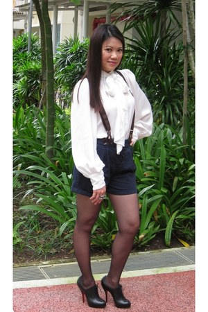 ivory Zara blouse - navy Zara shorts - gray Topshop socks - black Christian Loub
