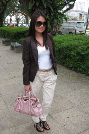 ivory Bebe vest - dark brown Zara blazer - beige Zara pants - light pink Miu Miu