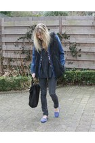 black furry gilet jacket - blue spiked loafers loafers