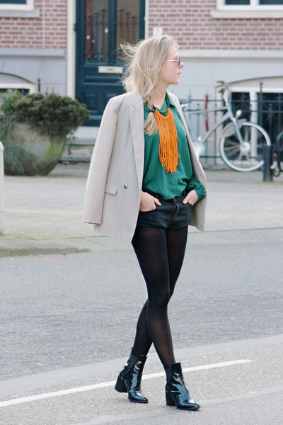 dark green blouse