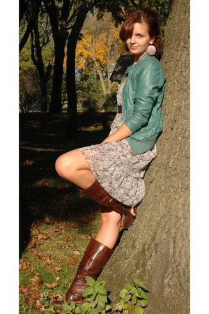 teal leather Orsay jacket - dark brown boots - light purple Orsay dress