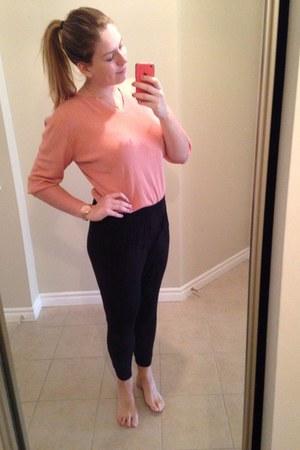 pink blouse - black H&M pants