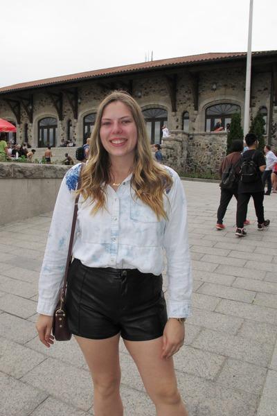 crimson unknown bag - black H&M shorts - aquamarine Guess blouse