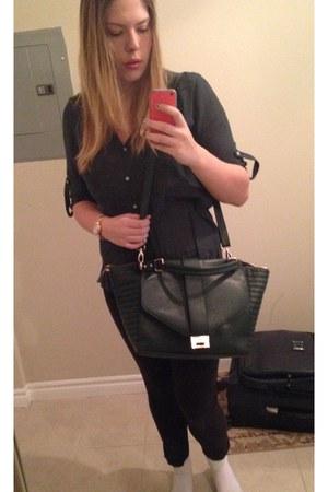 black leggings - dark green Accessorize bag - H&M blouse