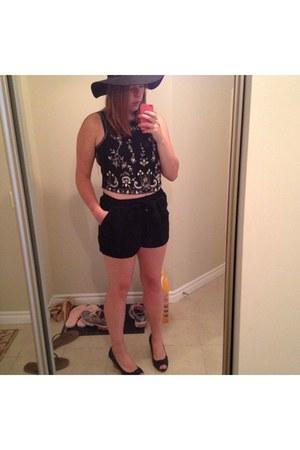 black Topshop shorts