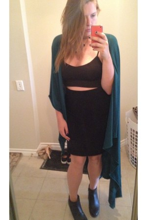 black Ivanka Trump skirt - teal DIY cape - black Ardene bra