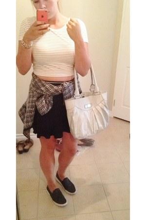 white H&M shirt - black Urban Planet skirt