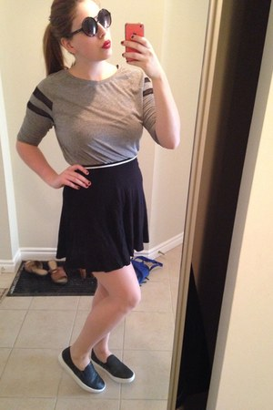 black Accessorize glasses - shoes - silver H&M shirt - black skirt