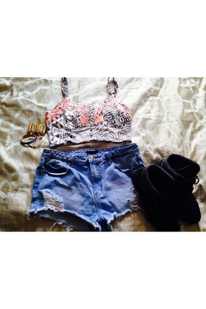 dark gray shoes - salmon shirt - sky blue Forever 21 shorts