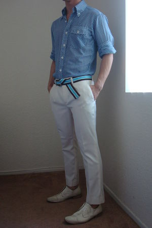 brown Gap belt - blue vintage shirt - white Aldo shoes