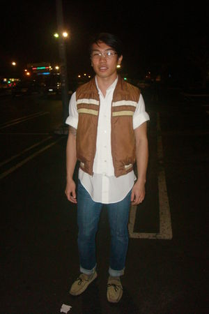 white vintage shirt - brown vintage vest - blue Express jeans - beige faconnable