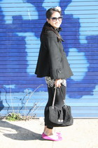 Zara dress - Zara coat - American Apparel leggings - lanvin bag - Chloe sunglass