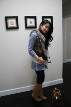 suede banana republic boots - jeggings Gap jeans - Forever21 shirt - Louis Vuitt