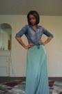 Guess-shirt-green-skirt-forever-21-skirt