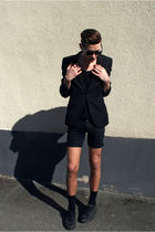 black H&M blazer - black Converse shoes - black Cheap Monday shorts - black H&M