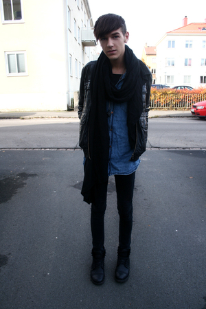 boots - jeans - jacket - shirt - scarf - necklace
