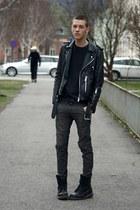 black Dr Martens boots - gray Cheap Monday jeans - black vintage jacket - dark g