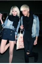jacket - Emilio t-shirt - H&M scarf - Fuzzy jeans - H&M shoes - Ica