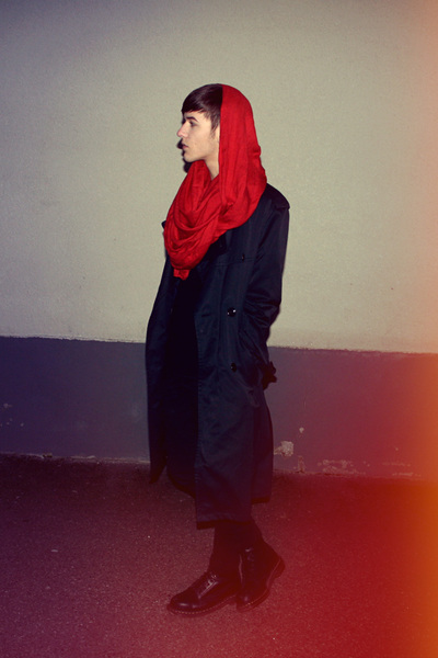 red H&M scarf - black second hand coat - black Cheap Monday jeans - black Dr Mar