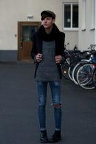 black H&M blazer - black Dr Martens boots - blue Cheap Monday jeans