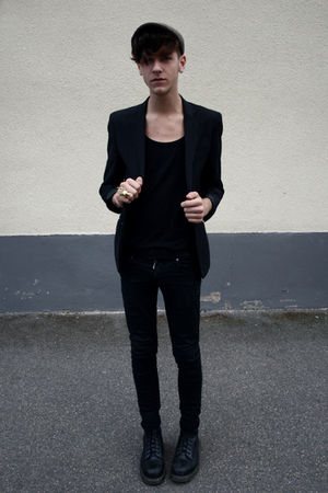 black H&M blazer - black Cheap Monday jeans - black Dr Martens boots - black bel